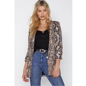 NWT NASTY GAL Fangs For Nothing Snake Print Blazer
